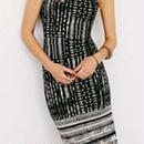 海外インポートブラックホワイトデザインミディ丈ワンピースドレス背中あき