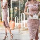 レディース 海外 インポート ピンク ホワイト ドット オフショル ベルト付き ワンピース ドレス