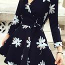 海外インポートブラックホワイトフレアーカシュクールワンピースパーティードレス花柄長袖