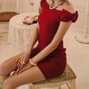 海外インポートセレクトレッドサイドオフショルダーリボンミニワンピースドレス