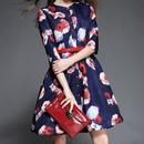 海外 インポート セレクト ネイビー フラワー デザイン レッド ベルト付 フレアー ワンピース ドレス