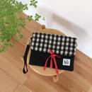 手織り布クラッチバッグ No.2  ( Clutch bag  Black Gingham check )