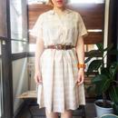 50s〜 ヴィンテージ Hattie Leads モカブラウン チェック柄×刺繍 ワンピース/古着 ビンテージ