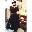 50s vintage プードル ブラックキルティング スカート/古着 ビンテージ