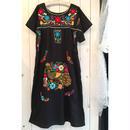 黒 カラフル刺繍 メキシカンワンピース/古着 ビンテージ
