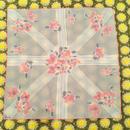 vintage vera  花柄 ライトグレー×ピンク シースルー スカーフ/古着 ビンテージ