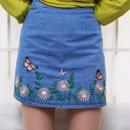 刺繍 ちょうちょ 花柄 デニムスカート