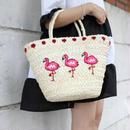 刺繍 フラミンゴ かごバッグ