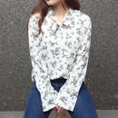 ホワイト 花柄 タイ リボン 長袖 ブラウス