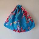 花布あづま袋(L)・ブルー×ピンクのドット柄