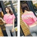 可愛い ステューシー肩出しtシャツ 大人気 可愛いピンク