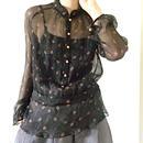BOUTIQUE silk crepe incense print tops  TG-2000 / BLACK