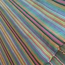 コットン & シルク 手織りストール 【ストライプ柄 アーモンドグリーン】