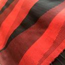 コットン & シルク 手織り大判ストール 【ピラミッド柄 レッド&ブラック】