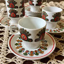 HOLLOHAZA - Peacock Demitasse C&S 6set(Hungary)
