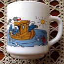 Vintage・Smurf Milkglass Mug '1985 TypeA
