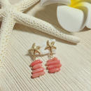 14kgf starfish & pink coral pierce