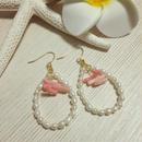 pearl & pink coral pierce
