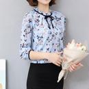 CN083 フリルネック 花柄 ブラウス シャツ シフォン 春カラー リボン