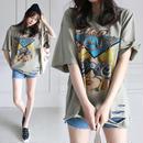 カッティング ビンテージ ロゴ Tシャツ 半袖 ビッグシルエット