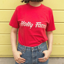 Made in USA / For Ladies / Holly Farms Tee  / Red /  Used