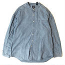 90s GAP / Cotton Stand Collar Check Shirt / Blue / Used