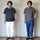 【夏のデニム!】STILL BY HAND  スティルバイハンド  リネン混 ワンタックデニムパンツ ブルー/ホワイト