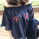 2WAY刺繍入りオフショルブラウス/五分袖プルオーバー(4color)【クリックポスト送料無料】