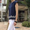 発泡プリントフレンチスリーブTシャツ【クリックポスト対象商品】