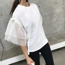 袖チュールTシャツ(2color)【クリックポスト対象商品】