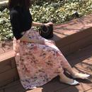 大人気!ミント再入荷★花柄アシンメトリーロングスカート(4color)
