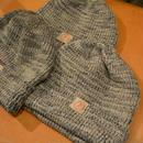 boncoura ニット帽(スラブ編み)‐デッドストック糸仕様‐ROYALNAVY×NATURAL