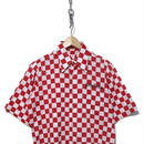"70's チェーン刺繍 半袖シャツ ""チェッカー"" RED×WHITE"