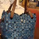牛革エナメルフラワーデザインバッグ(ブルー)