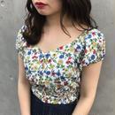 <ANDGEEBEE>flower puff sleeve bustier AG182SH05