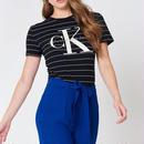 Calvin KleinTシャツ 人気半袖 レディースファッション 可愛い ペアルック ストライプ 黒 ページュ