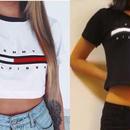 トミー半袖 トップス tommyTシャツ 大人気 半袖 ホワイト ブラック シャツ 腹出しシャツ トミーヒルフィガー