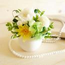 "memorial flower ""Temari green"" (プリザーブドフラワーの仏花)"
