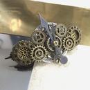 160610 文字盤を二つ重ねにしたシンメトリックな歯車バレッタno.16/スチームパンク