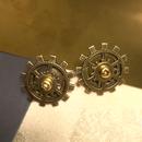 160124 飛行艇の羽根の様な歯車と真鍮ネジのピアス【片耳】/スチームパンク