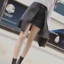 レイヤード風デニムスカート【2カラー】