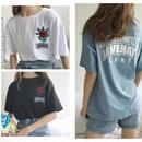 バラ刺繍Tシャツ 3color