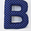 "LETTERS CUSHION BLACK&BLUE CHECKER ""B"""