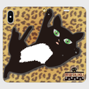黒猫PUKU 手帳型帯なしiPhoneケース  「ハグして!」01