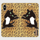 黒猫PUKU 手帳型帯なしiPhoneケース  「ハグして!」02