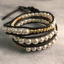 pearl×goldbeads wrap bracelet