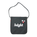 HT-G187007 / ROUND LOGO CANVAS SHOULDER BAG - BLACK