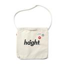 HT-G187007 / ROUND LOGO CANVAS SHOULDER BAG - NATURAL