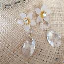 crystalstone flower pierce earring