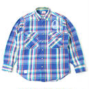 PRINTED USED FLANNEL SHIRT - BLUE